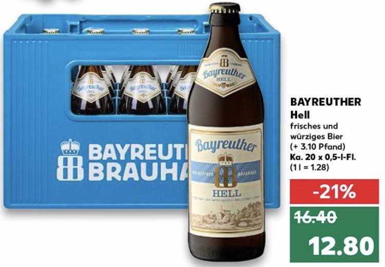 [Kaufland] Bayreuther Hell 20x0,5 Liter für 12,80€