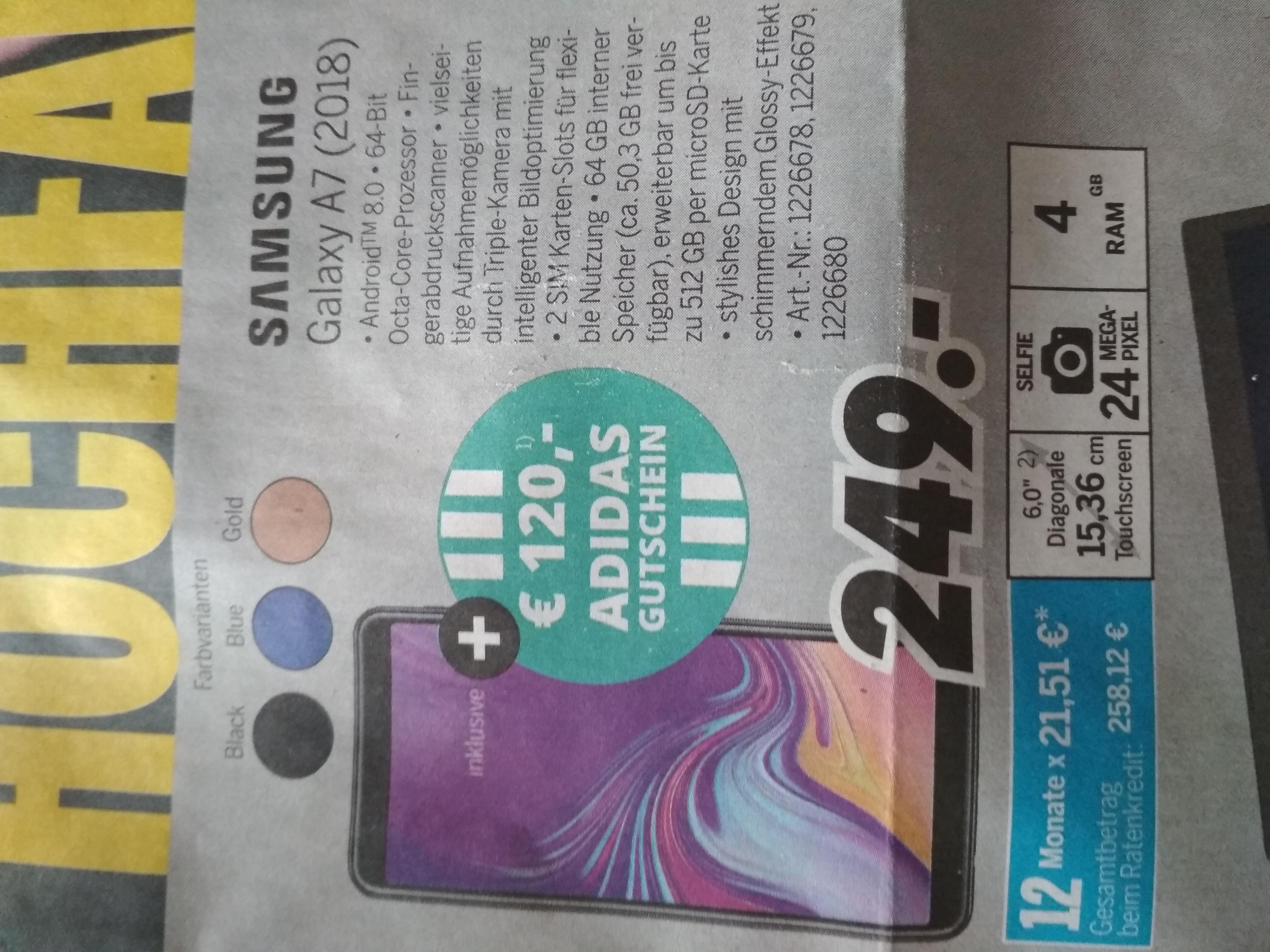 Samsung Galaxy A7 (2018) + 120 € Adidas-Gutschein, Medimax