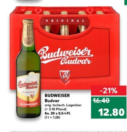 Budweiser Budvar Lager Bier 20x0,5l bei [Kaufland lokal?] ab 18.04.