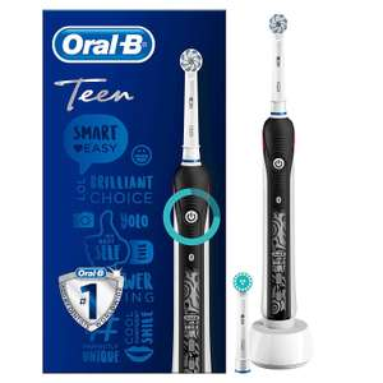 """Oral-B Elektrische Zahnbürste """"Teen"""" schwarz (mit visueller Andruckkontrolle, BT, Lithium-Ionen-Akku) [Amazon]"""