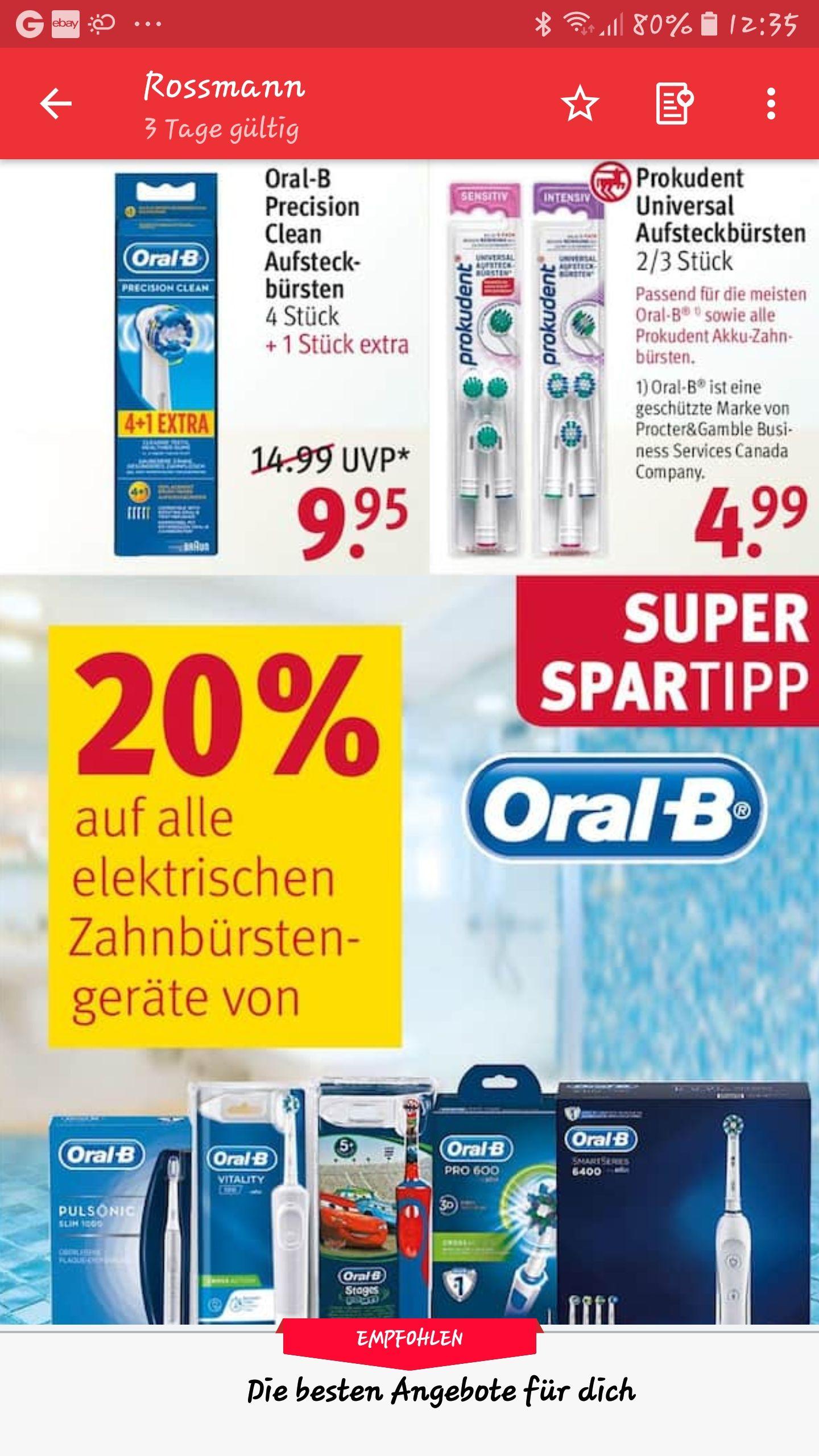 Oral B Aufsteckbürsten zwei Packungen. Angebotspreis + Oral B Coupon + 10% Rossmann App