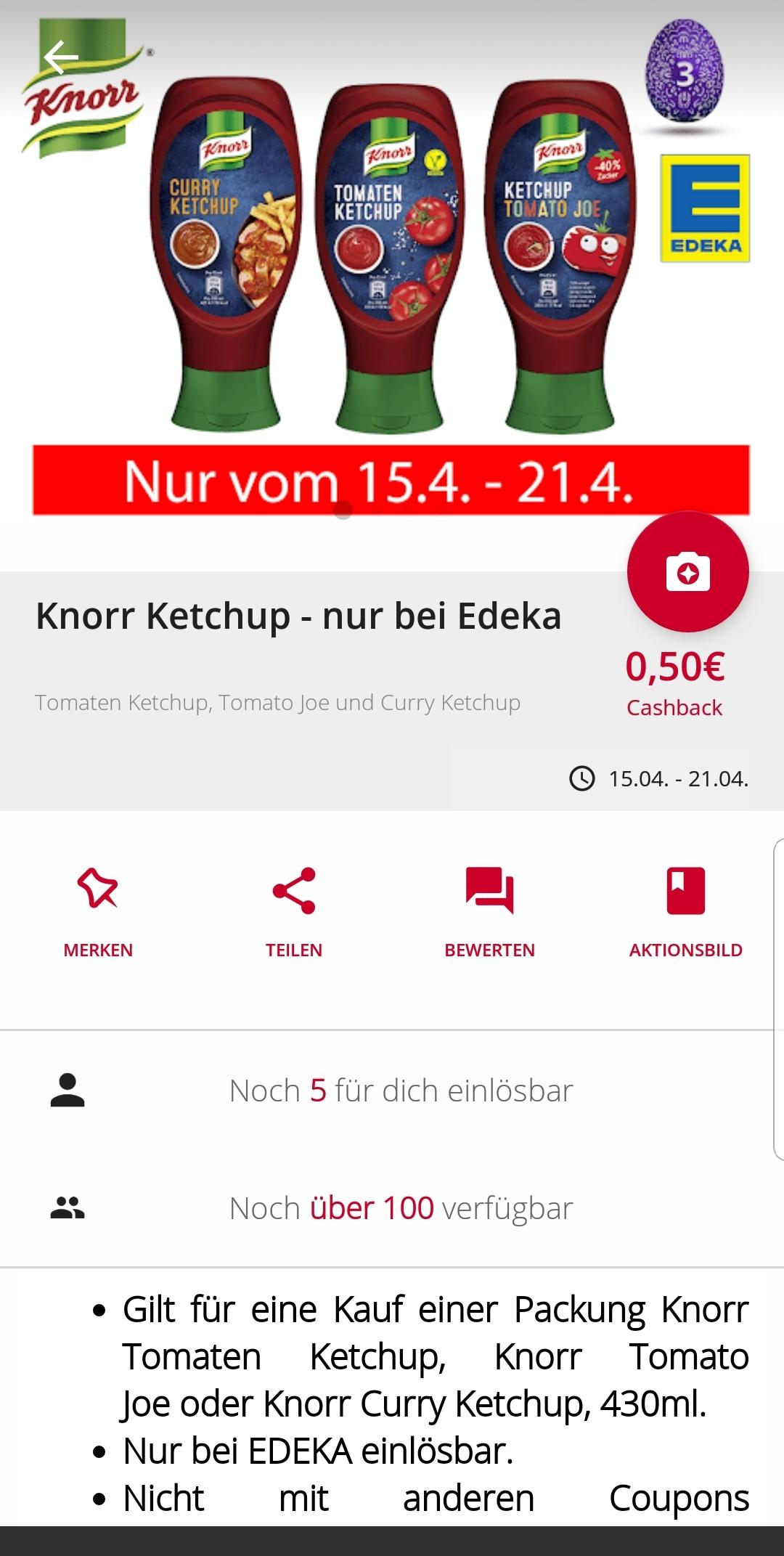 0.50 € Cashback auf Knorr Ketchup in der scondoo app