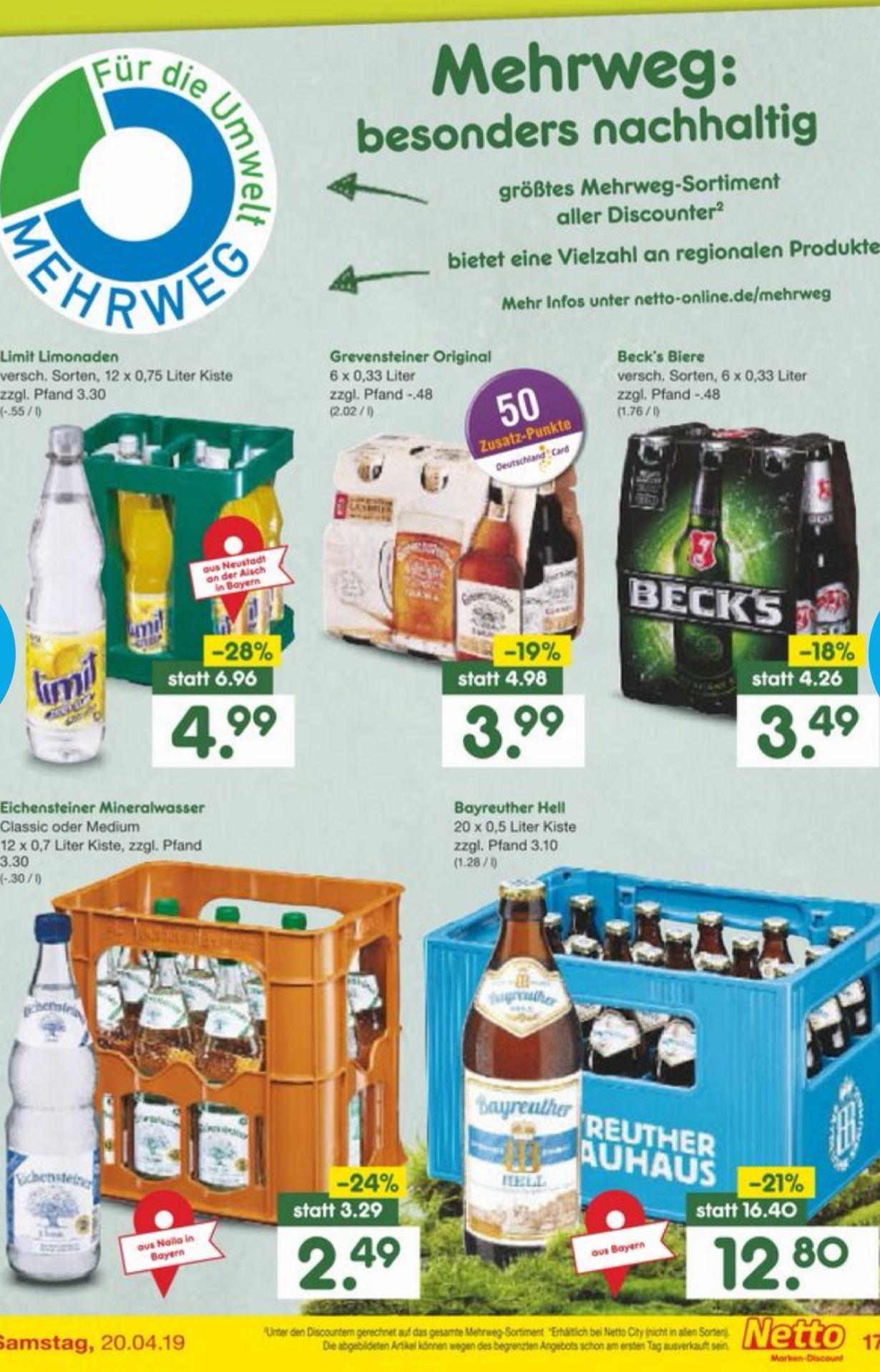 Bayreuther Brauhaus Hell 20 x 0.5l Flaschen Netto Marken-Discount (Lokal)