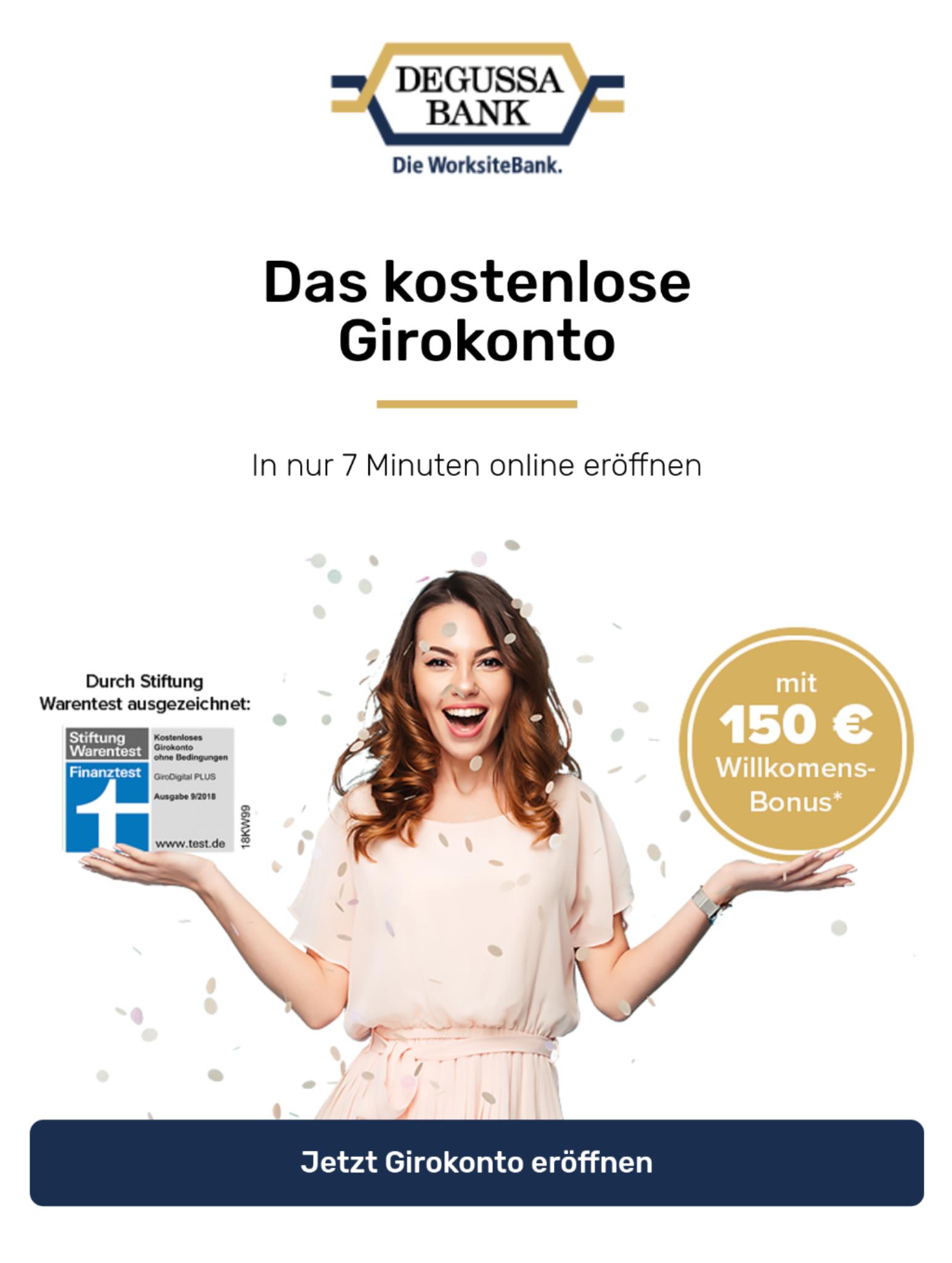 [Degussa Bank] Kostenloses Girokonto mit 150,- € Willkommensbonus / einfache Bedingungen