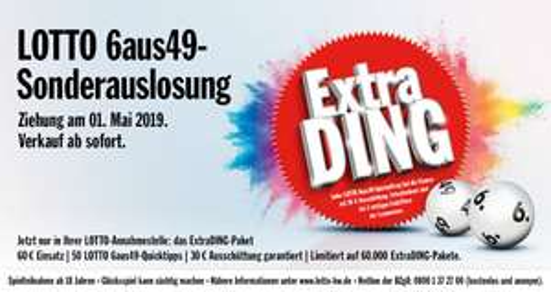 [Lokal BW] LottoBW ExtraDing am 01.05.2019, 50 Felder für effektiv 30€ (pro Tipp 0,60€ statt 1,00€)