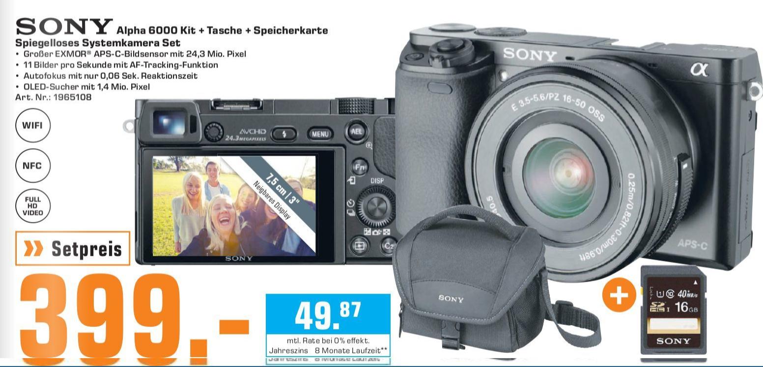 [Lokal: Saturn Pforzheim & Karlsruhe] SONY Alpha 6000 Kit Systemkamera 24.3 Megapixel mit Objektiv 16-50 mm f/5.6 + Tasche + SD-Karte