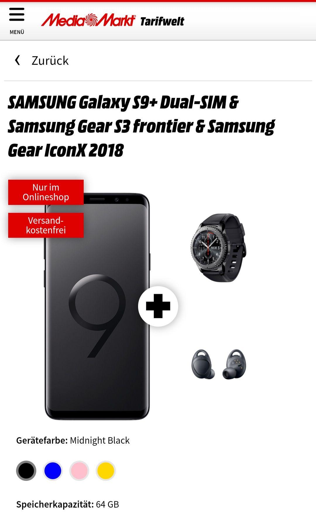 Mediamarkt MD Vodafone Green LTE 4gb inkl SAMSUNGGalaxy S9+ Dual-SIM & Samsung Gear S3 frontier & Samsung Gear IconX 2018