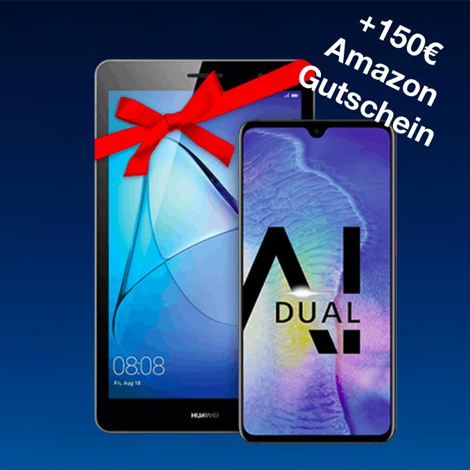 o2 Free M (10GB LTE) mtl. 29,99€ mit Huawei Mate 20 + Huawei MediaPad T3 10.0 LTE + 150€ Amazon Gutschein für 41,99€ Zuzahlung