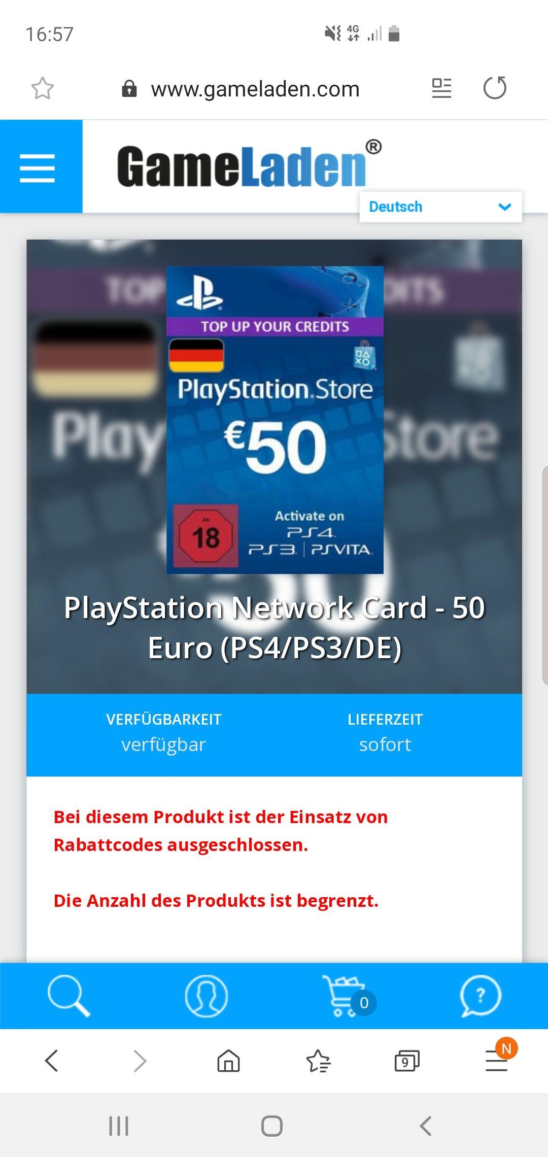 50€ PSN Guthaben