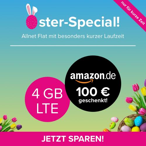 Tarifhaus-Osterdeal: 4GB LTE-Tarif für mtl. 14,99€ + 100€ Amazon Gutschein (eff. kostenlos + 6 Monate MVLZ, Telefonica-Netz)