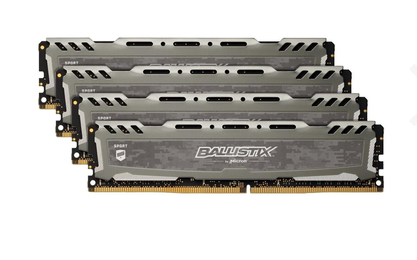 Crucial Ballistix Sport LT grau DIMM Kit 32GB, DDR4-3200, CL16-18-18 (BLS4K8G4D32AESBK)