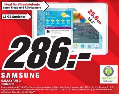 [lokal MM Plauen] Samsung Galaxy Tab 2 10.1 Wi-Fi, 16GB, weiß 286€
