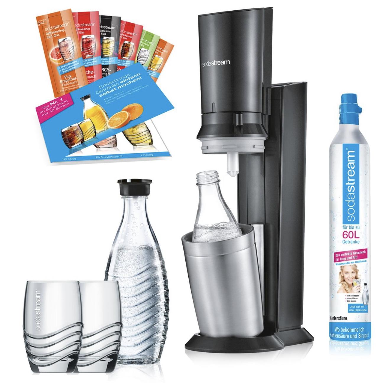 SodaStream Crystal 2.0 titan Promopack inkl. 2 Karaffen, 2 Gläser, 6 Sirupproben u. Zylinder für 89€ inkl. Versandkosten