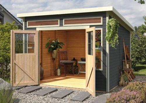 Karibu Gartenhaus und Gerätehaus Langenau 6 - terragrau