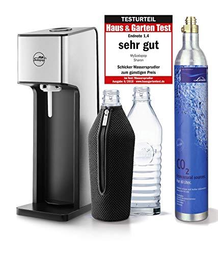 mySodapop Sharon Up! Glaskaraffen Wassersprudler inkl. 2 Glasflaschen 1L (Spülmaschinenfest 850ml Soda) und 1 CO2-Zylinder (425G)