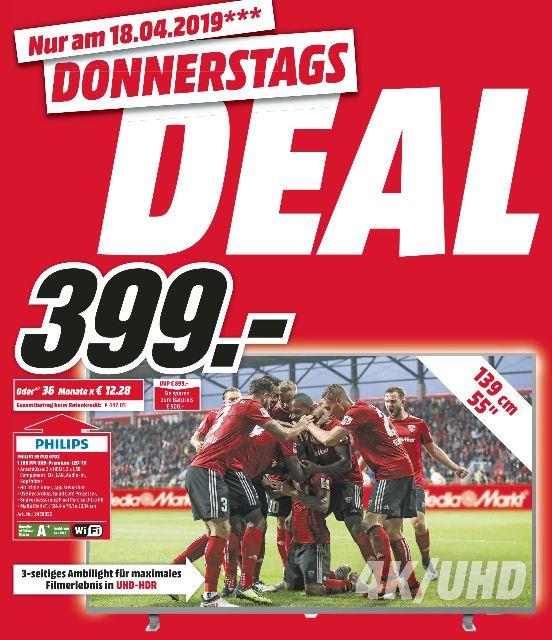 [Regional Mediamarkt Papenburg am 18.04] PHILIPS 55PUS6703/12, 139 cm (55 Zoll), UHD 4K, SMART TV, 1100 PPI, Ambilight 3-seitig für 399,-€