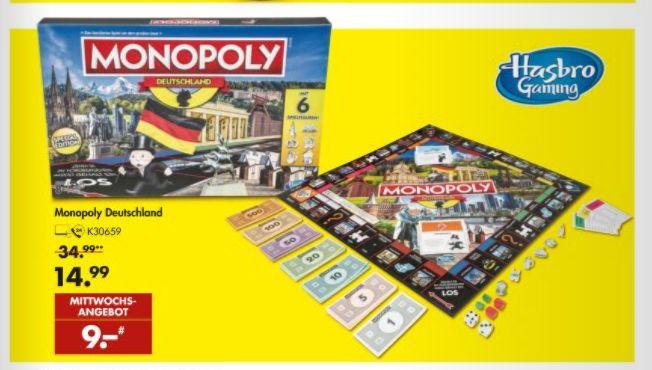 [Galeria Karstadt Kaufhof am 24.04] Hasbro Monopoly E1553100 Monopoly Deutschland, Familienspiel für 9,-€