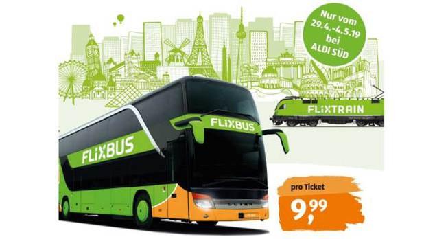 Flixbus / Flixtrain Tickets für 9,99€ für frei wählbare Fahrt (ohne Umstieg) innerhalb Deutschlands und Europa [ALDI Nord + Süd]