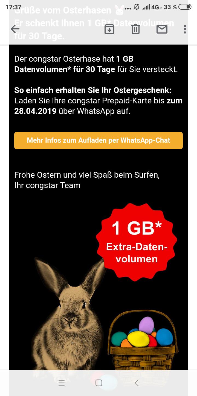 Ostern bei Congstar: 1 GB geschenkt für mind. 15 Euro Aufladung.