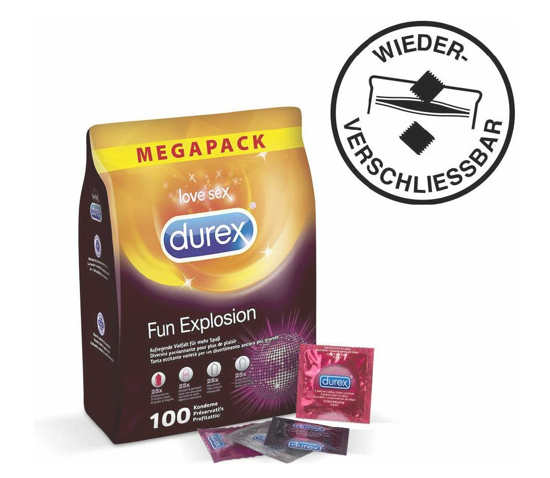 100x Durex Fun Explosion Kondome, 4 Sorten, Großpackung, wiederverschließbar (die Verpackung) / im Sparabo nochmal 15% günstiger