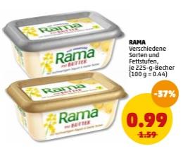 [PENNY bundesweit] 2 Packungen Rama mit Butter / Alpenmilch / Meersalz für effektiv 0,99€ (Angebot + Scondoo) 3x einlösbar