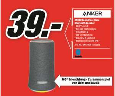[Regional Mediamarkt Münster] ANKER Soundcore Flare, Bluetooth Lautsprecher, Wasserfest in schwarzr für 39,-€