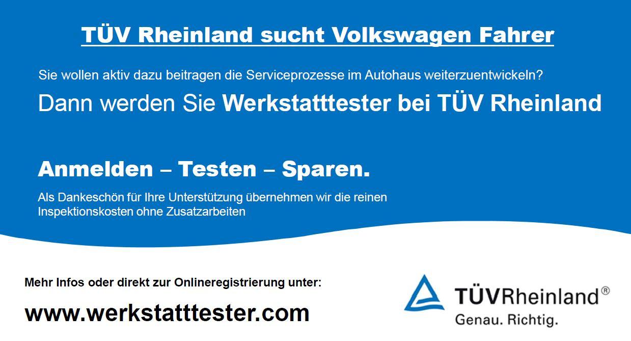 Volkswagen (VW) Werkstatttester werden und Inspektion sparen!