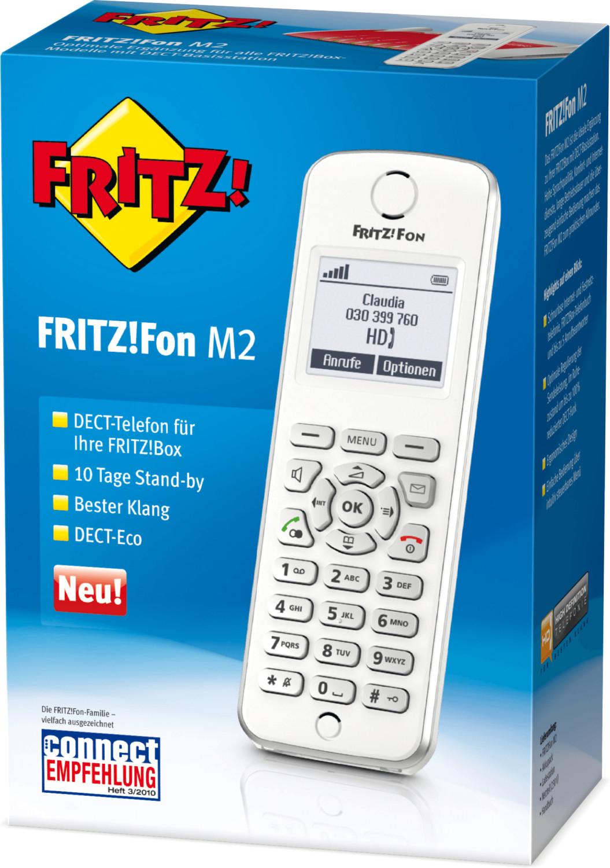 AVM FRITZ!Fon M2 für FRITZ!Box Telefon VoIP Babyphone Freisprechen Beleuchtetes Display Weiß, Silber für 34,33€ inkl. Versandkosten