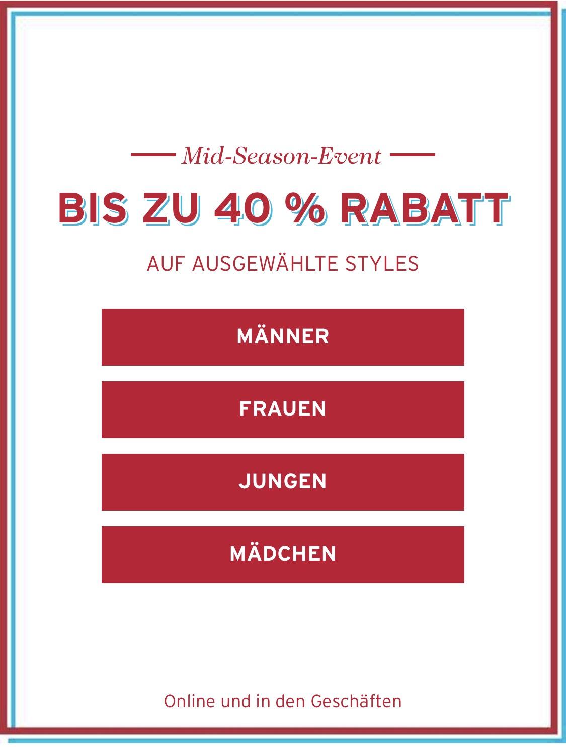 LEVI'S Mid-Season-Sale mit bis zu 40% (auch Lokal)