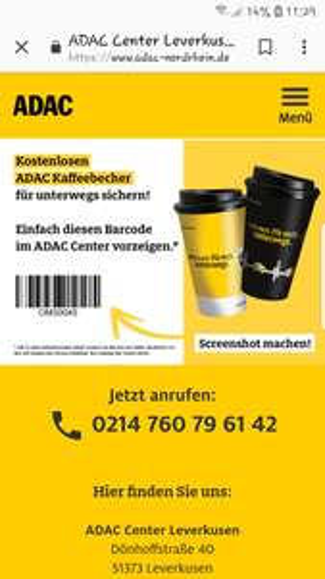 (lokal Nordrhein) ADAC Kaffeebecher