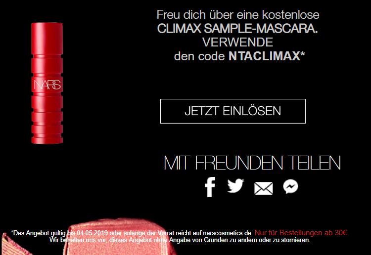 [NARS] kostenlose CLIMAX SAMPLE-MASCARA ab 30 € MBW