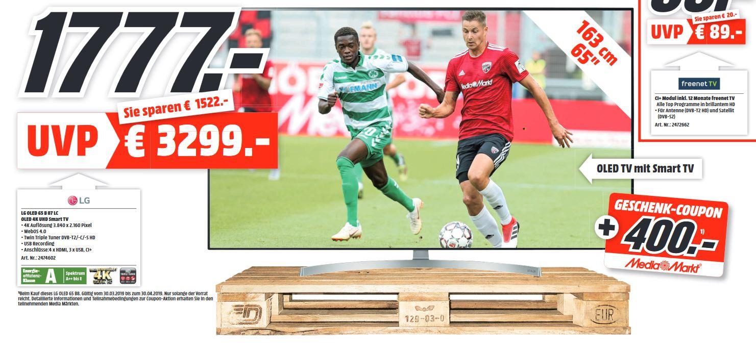 [Lokal MM Dietzenbach - Nähe FFM] LG OLED TV 65B87 INKL. 400€ Geschenk-Coupon