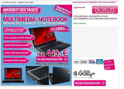 [T-Online] Notebook: Packard Bell Easynote LV11HC-32374G50MNKS -> (438,22€ mit Qipu) Idealo @ 476,18€ (Windows 8 Cashback)
