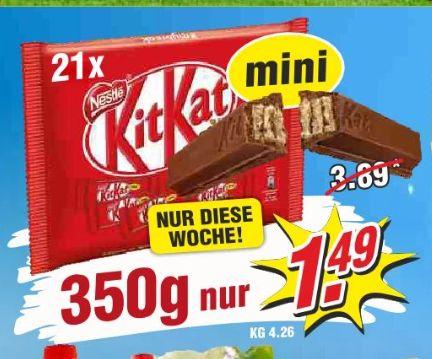 [Wiglo Wunderland-8 Filialen ab 23.04]  KitKat Mini-21Riegel mit insgesamt 350Gramm für nur 1,49€ bzw. 0,43€ pro 100 Gramm