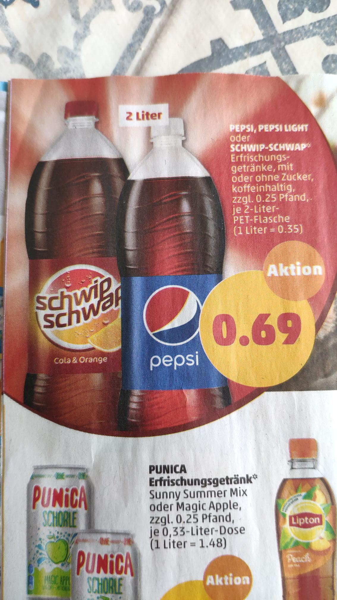 (Penny Markt) Pepsi oder Schwip-Schwap 2l mit oder ohne Zucker ab den 23.4