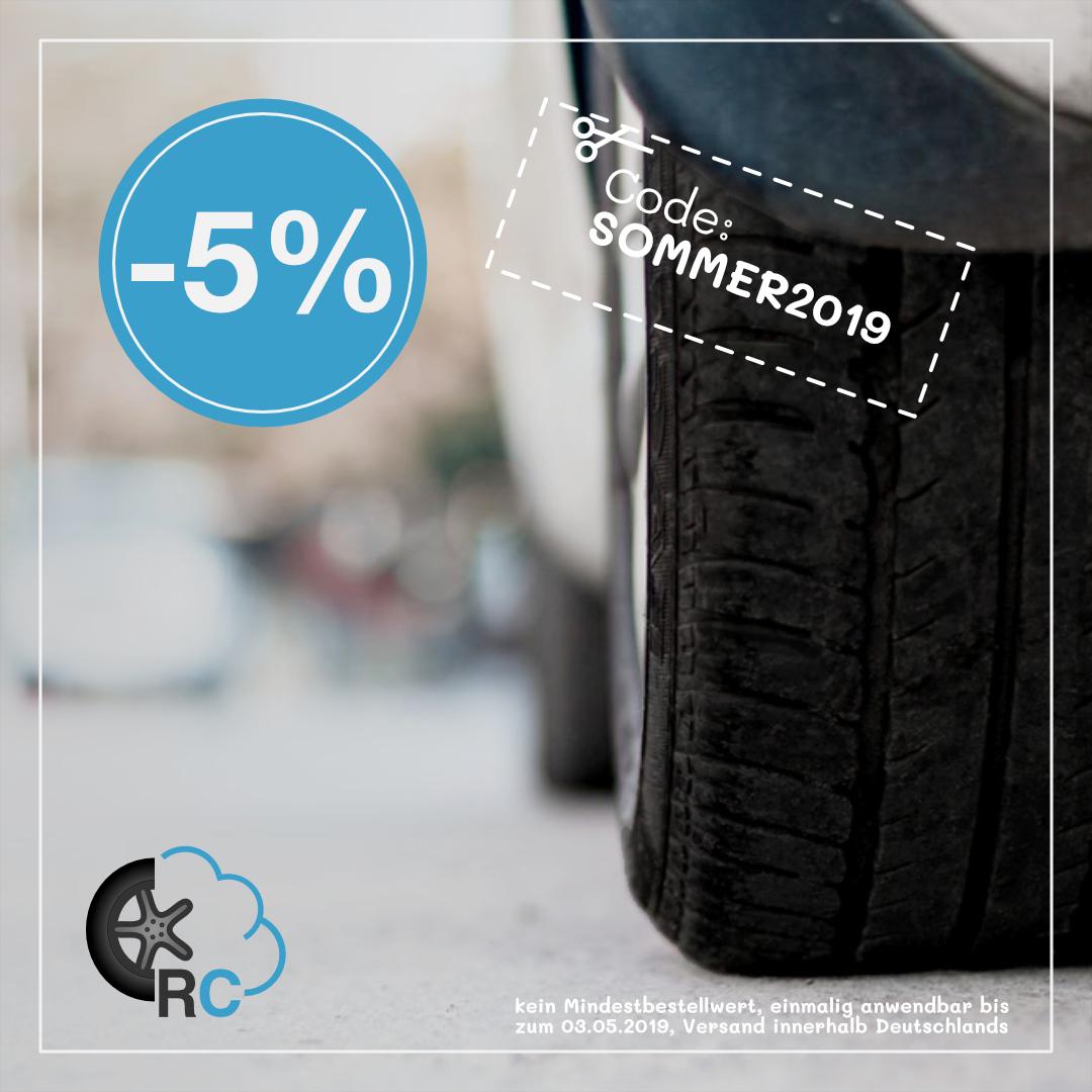 5% Rabatt auf Reifen bei ReifenCloud – Code SOMMER2019