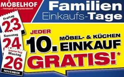 [Lokal] Möbelhof Parsberg / Ingolstadt - Jeder 10. Einkauf gratis
