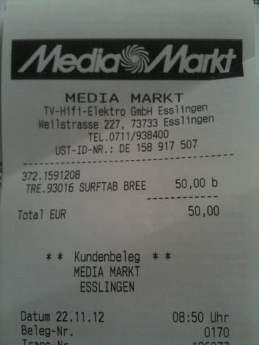 [LOKAL] Esslingen Media Markt - Trekstor SurfTab breeze 7.0