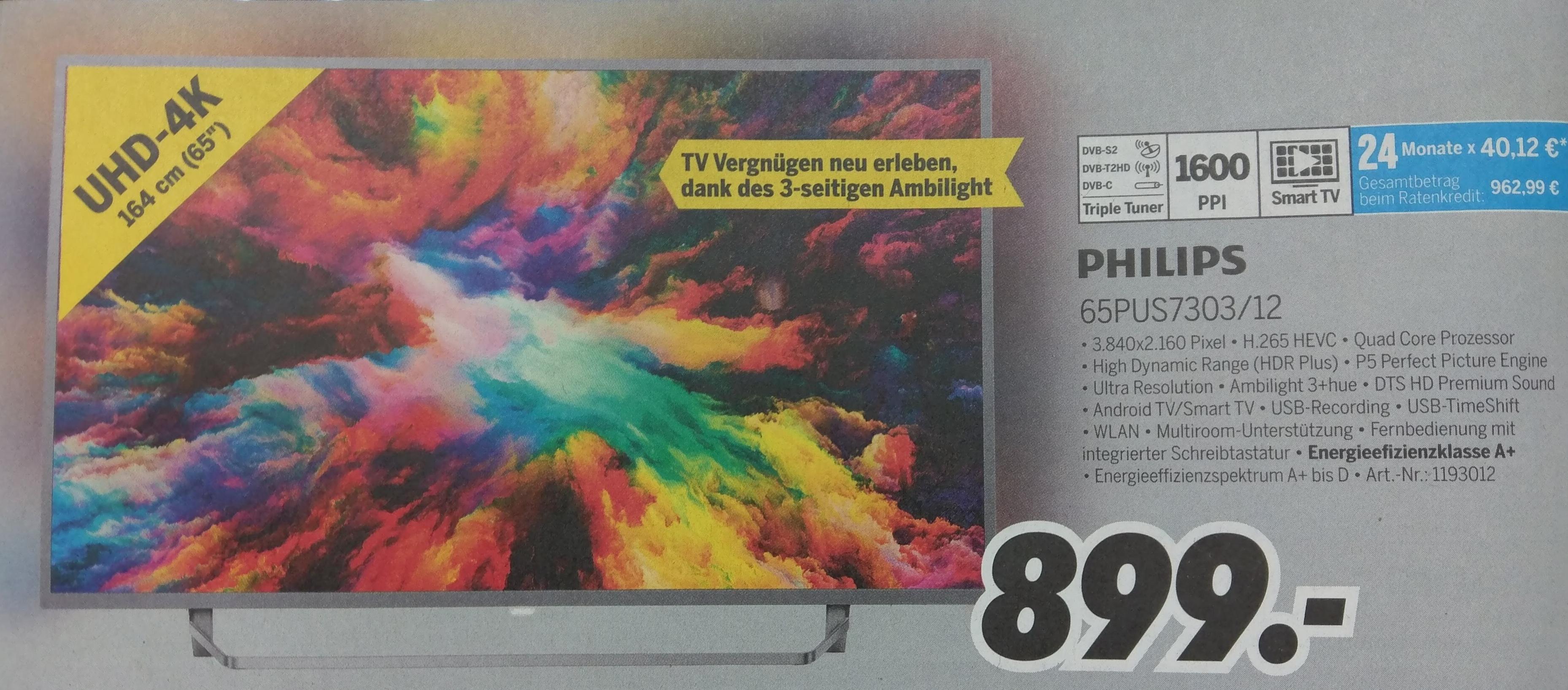 MEDIMAX Philips 65pus7303/12 TV 65 Zoll 4K Ambilight 3seitig