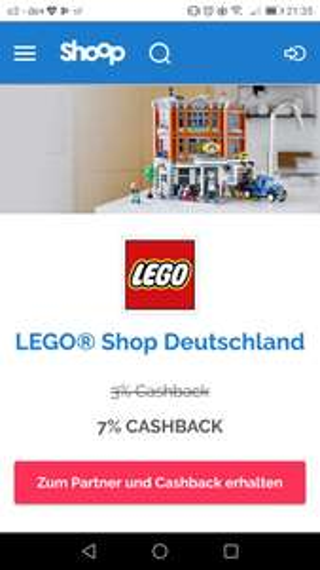 Shoop - 7% Cashback im Lego Shop