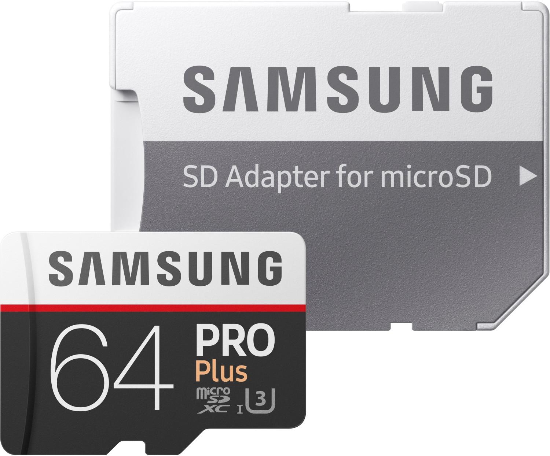 Samsung Pro Plus Micro-SDXC-Karte 64GB inkl. SD-Adapter (Class 10, UHS-I, UHS-Class 3) für 23,75€ versandkostenfrei (Media Markt)