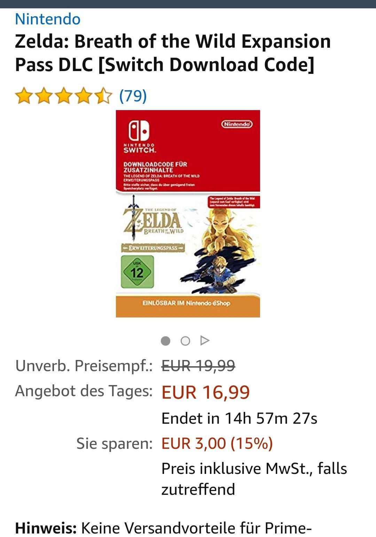 (Amazon Tagesangebot fuer die Switch) Zelda: Breath of the Wild Expansion Pack Dlc