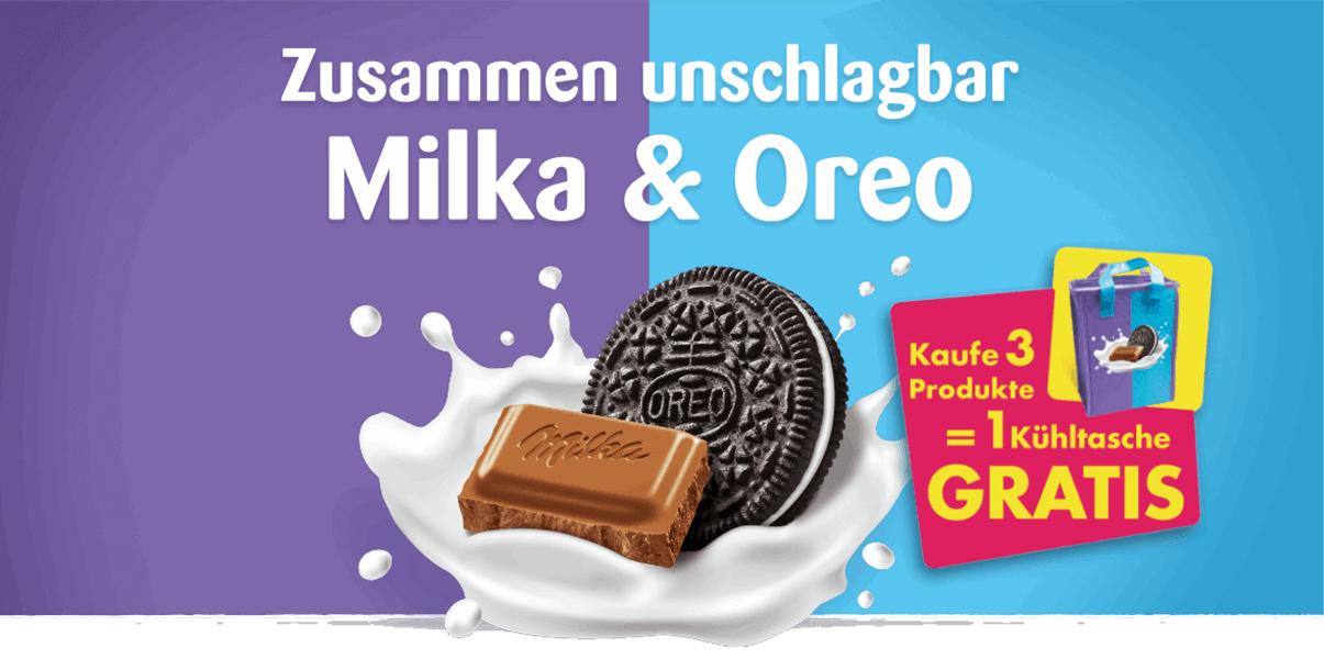 Eine kleine Kühltasche gratis beim Kauf von 3 Milka und/oder Oreo Produkten
