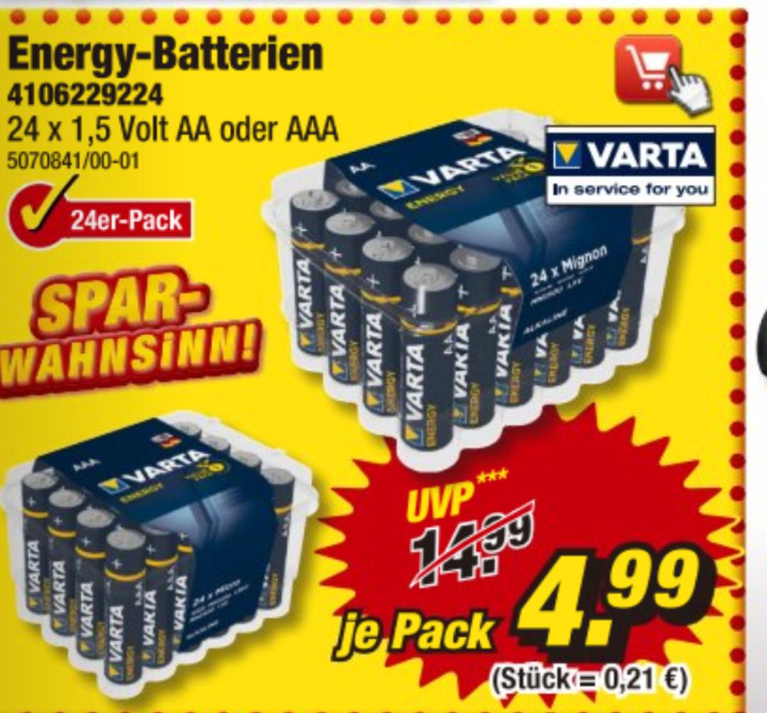 24 x Varta Energy Batterien AA oder AAA [POCO]