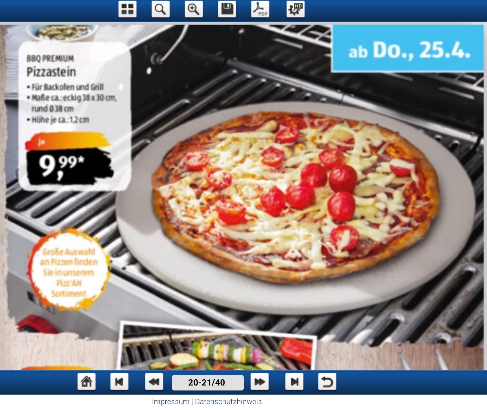 BBQ Premium Pizzastein (Backofen & Grill) rund oder eckig [Aldi Süd & Nord]