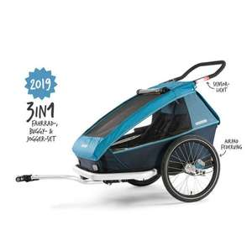 Croozer Kid Plus for 2 | 2019 mit 3 neuen Features 3 in 1 Fahrradanhänger Buggy & Jogger Ocean Blue