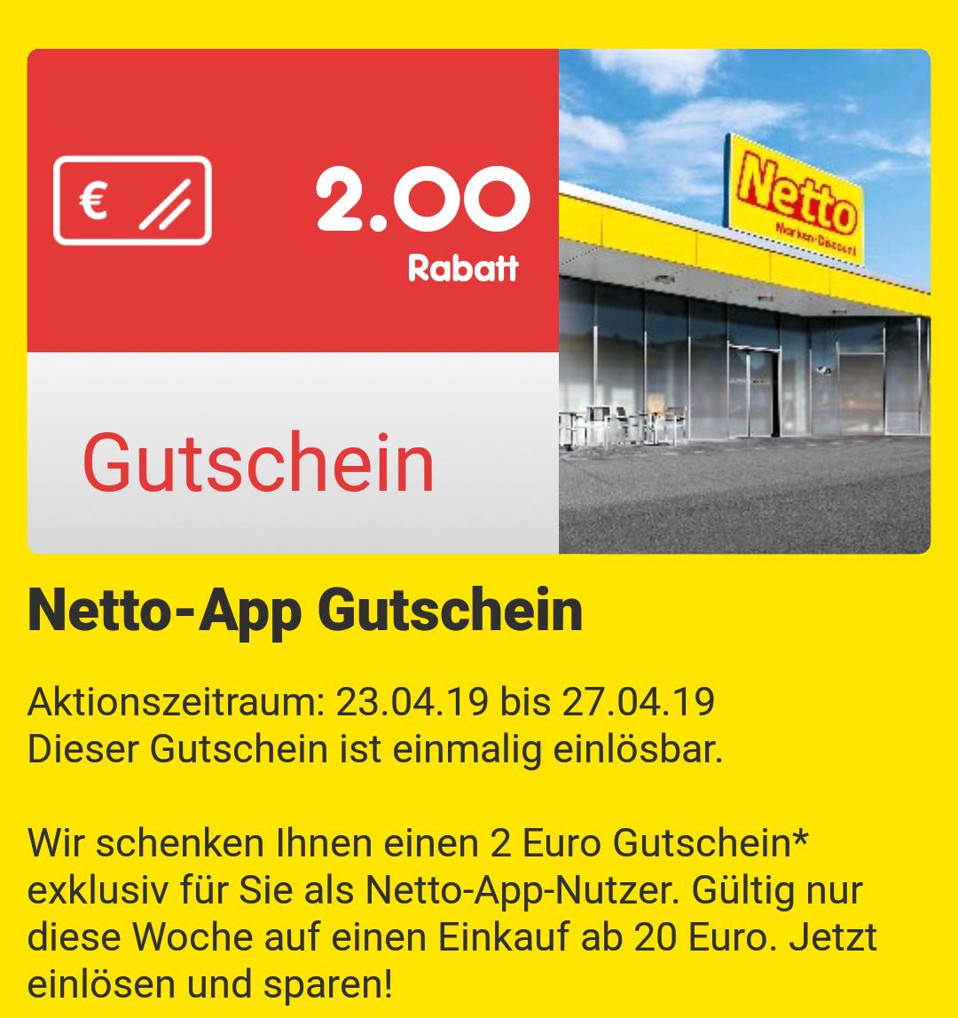 [Netto MD App] [Ab 23.04] 2€ Gutschein ab 20€ Einkauf