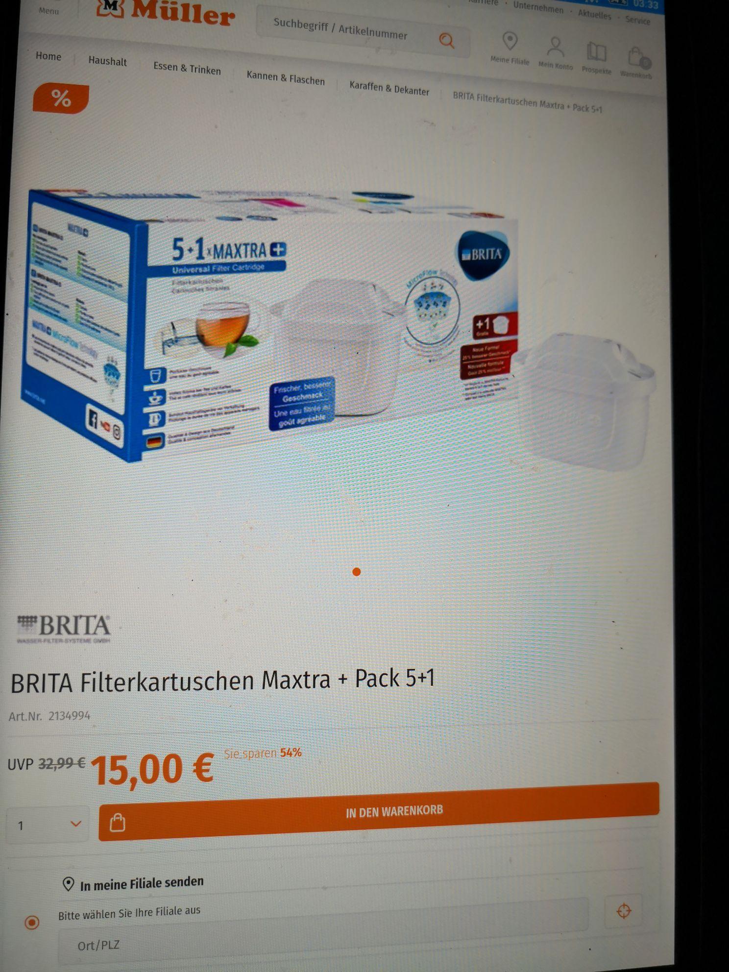 Brita Maxtra Filter 5+1 Müller Sonntagsknüller