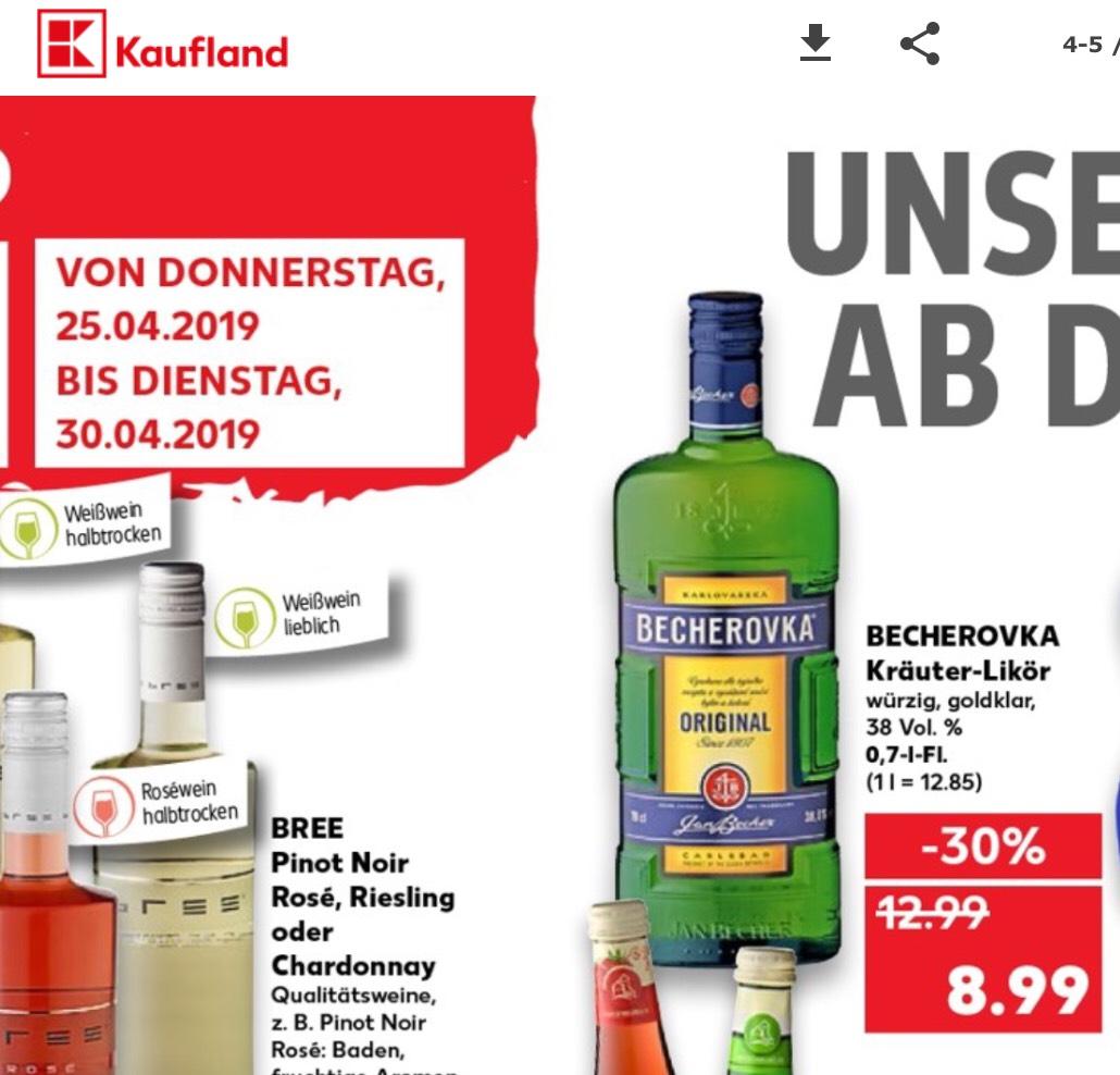 Kaufland ab Donnerstag 25.04.19 gibt es den beliebten Tschechischen Kräuterlikör Becherovka für 8,99€ im Angebot