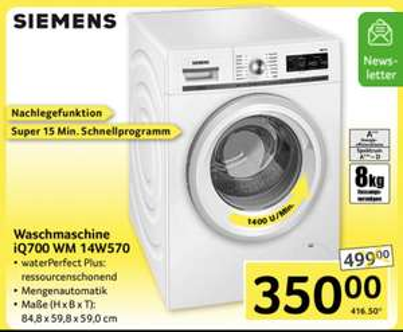 Siemens IQ 700 - Waschmaschine WM14W570 - Selgros (Offline)